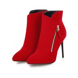 Ericdress Plain Side Zipper Stiletto Heel Ankle Boots