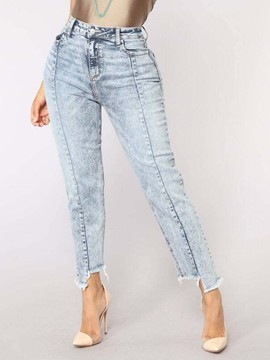 Ericdress Plain Straight Denim Mid-Waist Women's Jeans