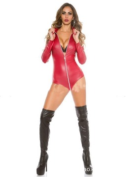 Ericdress Zipper Tight Wrap Patent Leather Bodysuit