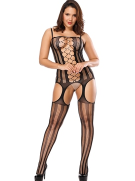 Ericdress Fishnet Spaghetti Stripe Hollow Sleeveless Bodystockings