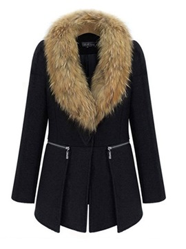 Ericdress Patchwork Faux Fur Mid-Length Coat