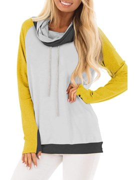 Ericdress Loose Color Block High Neck Casual Cool Hoodie