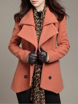 Ericdress Lapel Mid-Length Double-Breasted Long Sleeves Coat