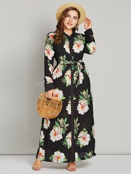 Ericdress Plus Size Print Long Sleeve Lapel Floral Dress