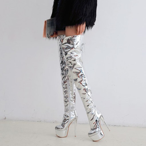 Ericdress Platform Stiletto Heel Over The Knee Metallic Boots