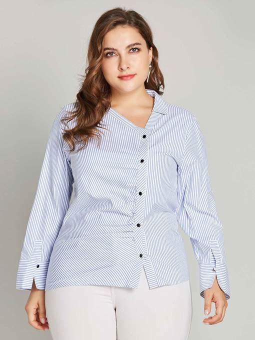 Ericdress Stripe Button Oblique Collar Blouse