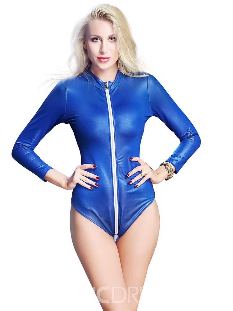 Ericdress Zipper Tight Wrap Patent Leather Bodysuit Clubwear