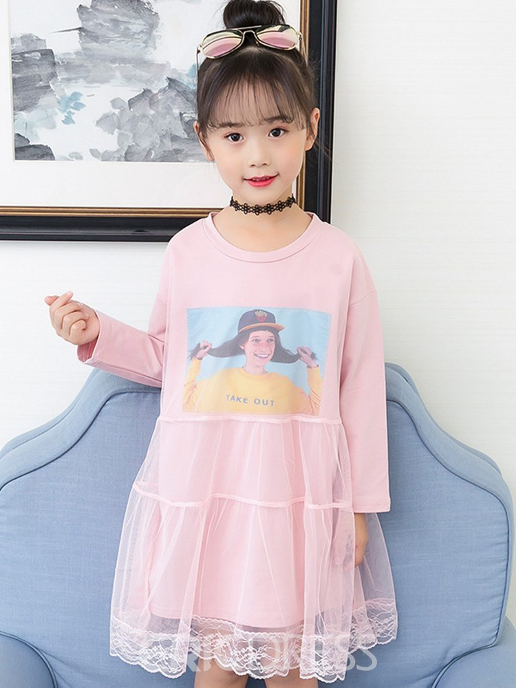 Ericdress Scoop Pullover Mesh Patchwork Girls Dresses