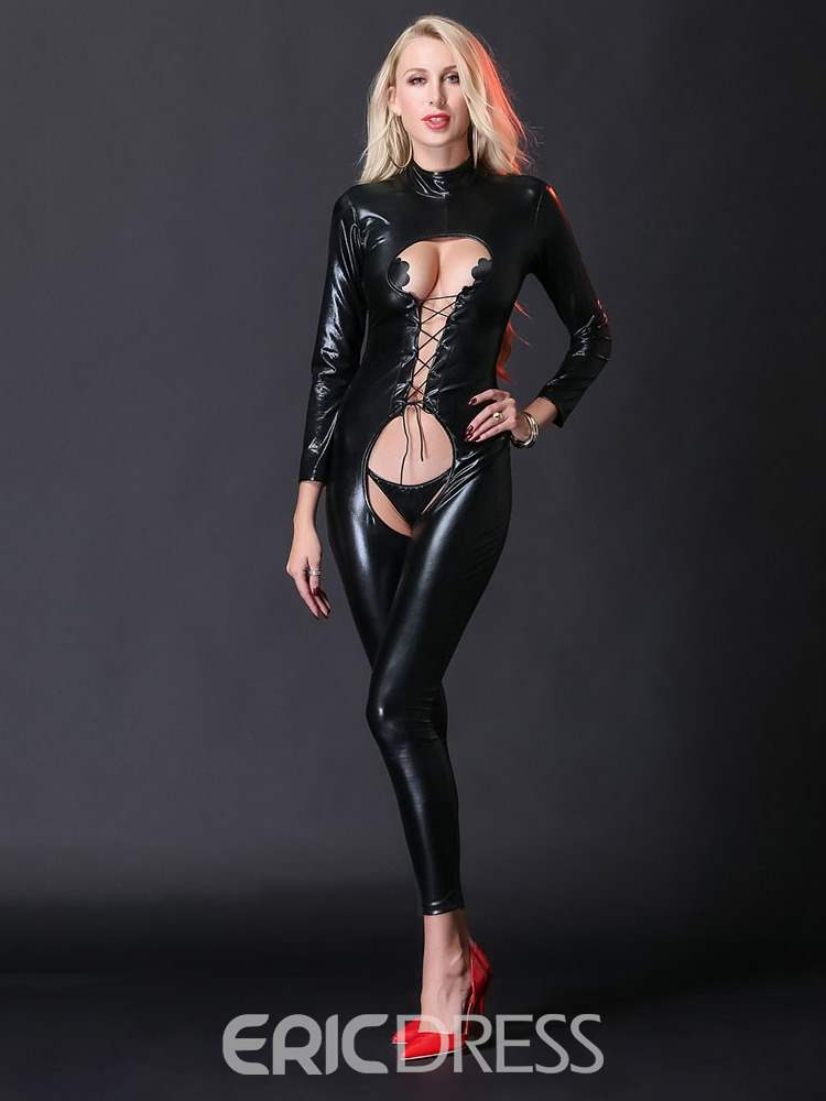 Ericdress Lace-Up Crotchless Patent Leather Bodysuit