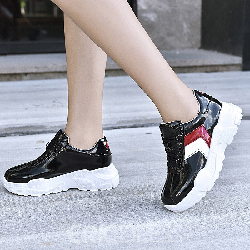 Ericdress Round Toe Color Block Lace-Up Women's Sneakers
