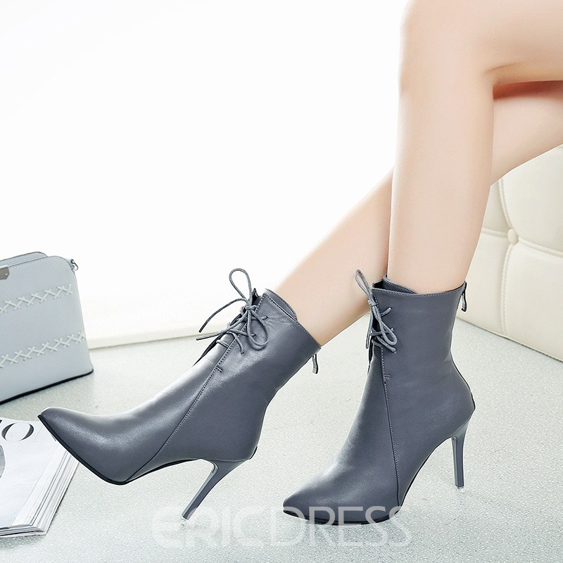 Ericdress Back Zip Pointed Toe Stiletto Heel Boots