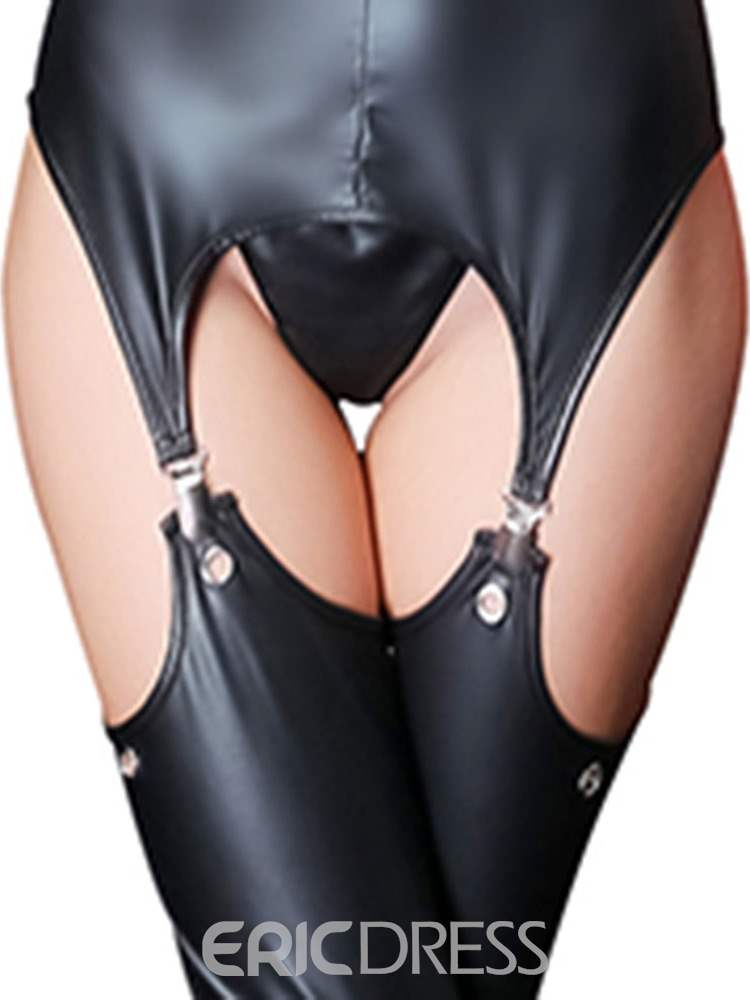 Ericdress Open Chest Hollow Lace-Up Sexy Patent Leather Bodysuit