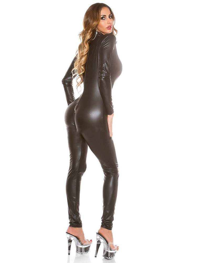 Ericdress Zipper Tight Wrap Patent Leather Long Bodysuit Clubwear