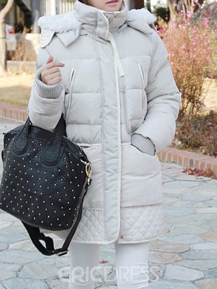 Ericdress Zipper Hooded Thick Patchwork Long Sleeves Coat