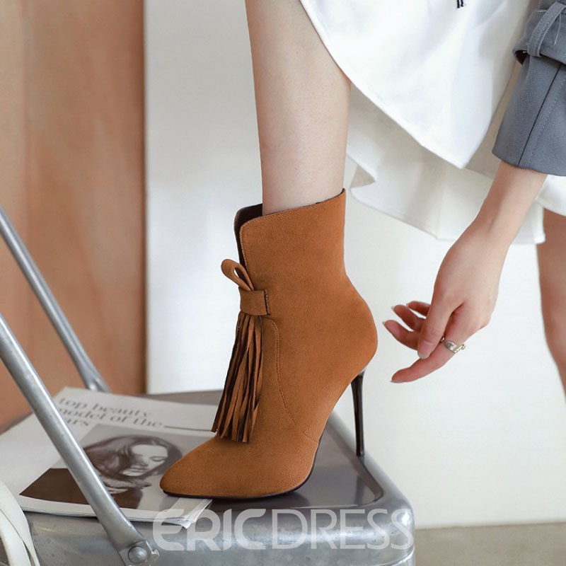 Ericdress Fringe Side Zipper Stiletto Heel Ankle Boots