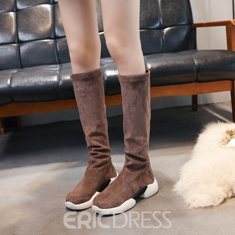 Ericdress Plain Round Toe Knee High Boots
