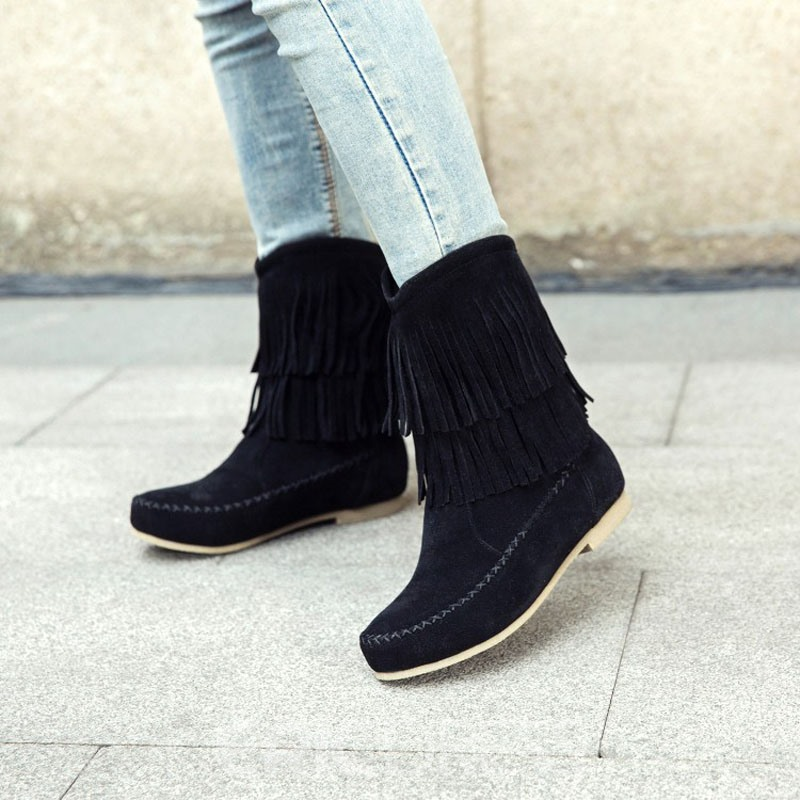 Ericdress Fringe Block Heel Slip-On Snow Boots