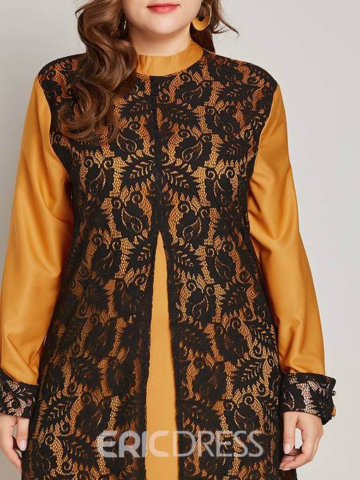Ericdress Plus Size Lace Patchwork Stand Collar Muslim Dresses