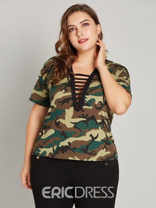 Ericdress V-Neck Hollow Plus Size T-Shirt
