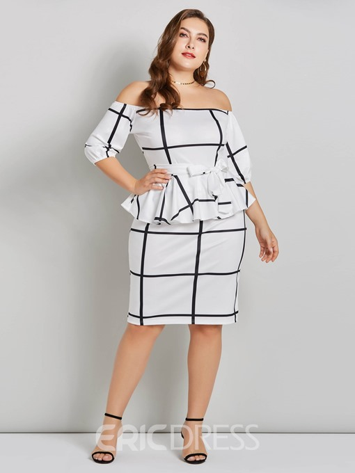 Ericdress Plus Size Knee-Length Half Sleeve Lace-Up Pullover Dress