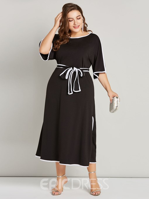 Ericdress Plus Size Ankle-Length Round Neck Lace-Up Pullover A-Line Dress