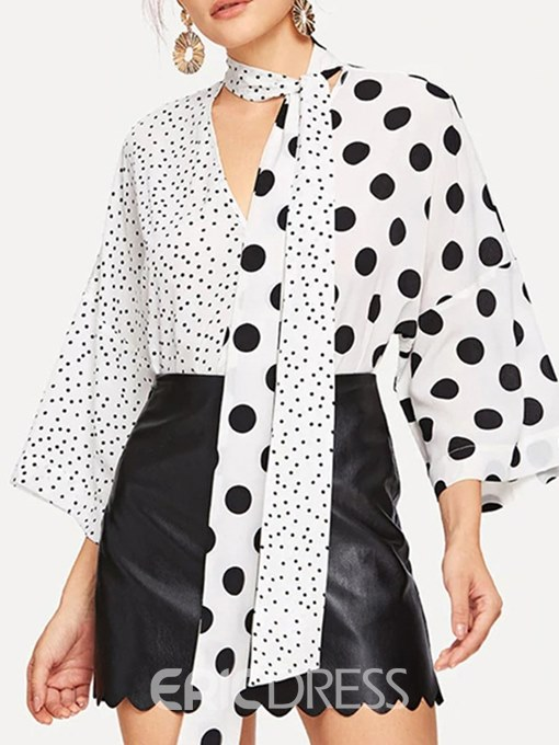 Ericdress Loose Polka Dots Print V-Neck Long Sleeve Blouse