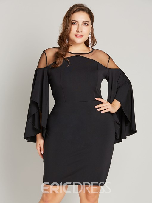 Ericdress Plus Size Patchwork Three-Quarter Sleeve Knee-Length Flare Sleeve Pullover Dress