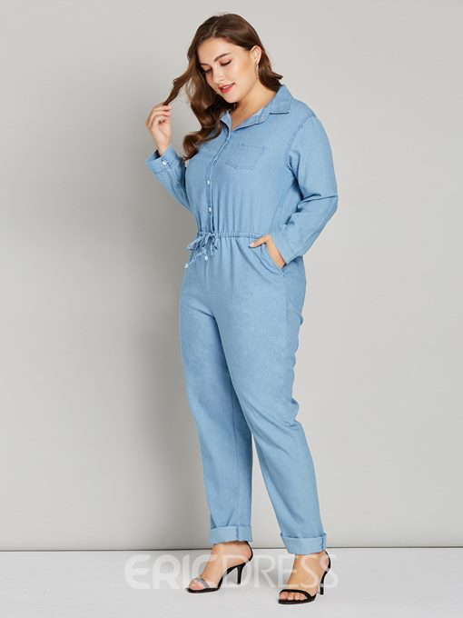 Ericdress Plus Size Plain Worn Pencil Pants Mid Waist Jumpsuit