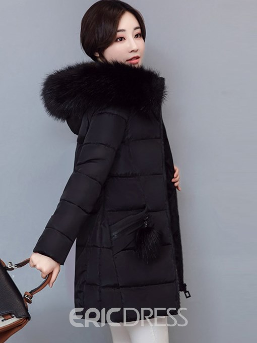 Ericdress Thick Plain Zipper Mid-Length Coat