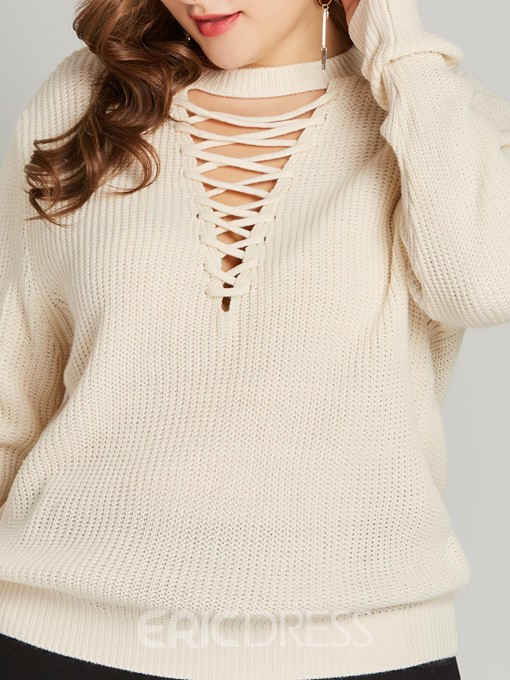 Ericdress Plus Size Hollow Fall Straight Sweater