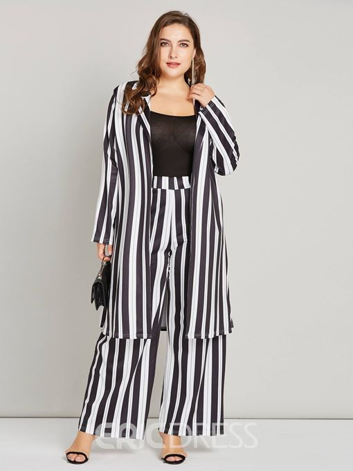 Ericdress Plus Size Striped Color Block Trench Coat and Pants Women's Two Piece Set