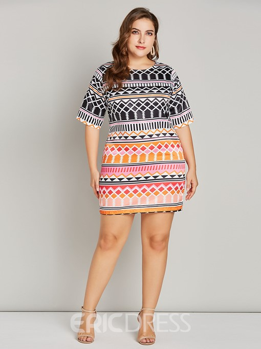 Ericdress Plus Size Round Neck Half Sleeve Print Straight Dress