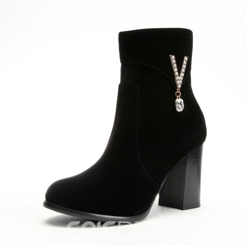 Ericdress Rhinestone Side Zipper Chunky Heel Black Ankle Boots
