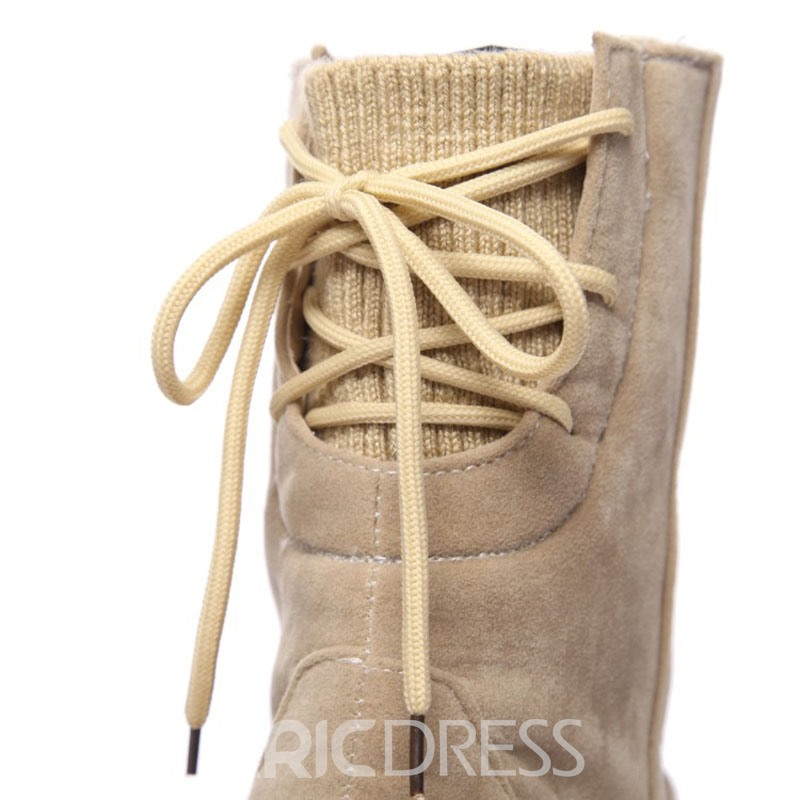 Ericdress Plain Lace-Up Back Women's Snow Boots