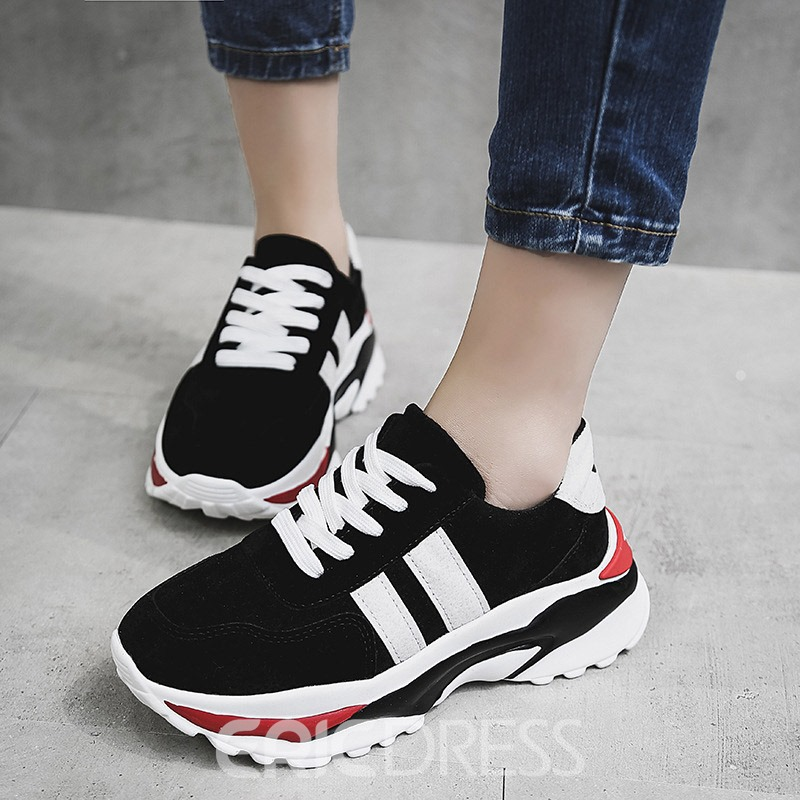 Ericdress Patchwork Round Toe Lace-Up Women's Sneakers
