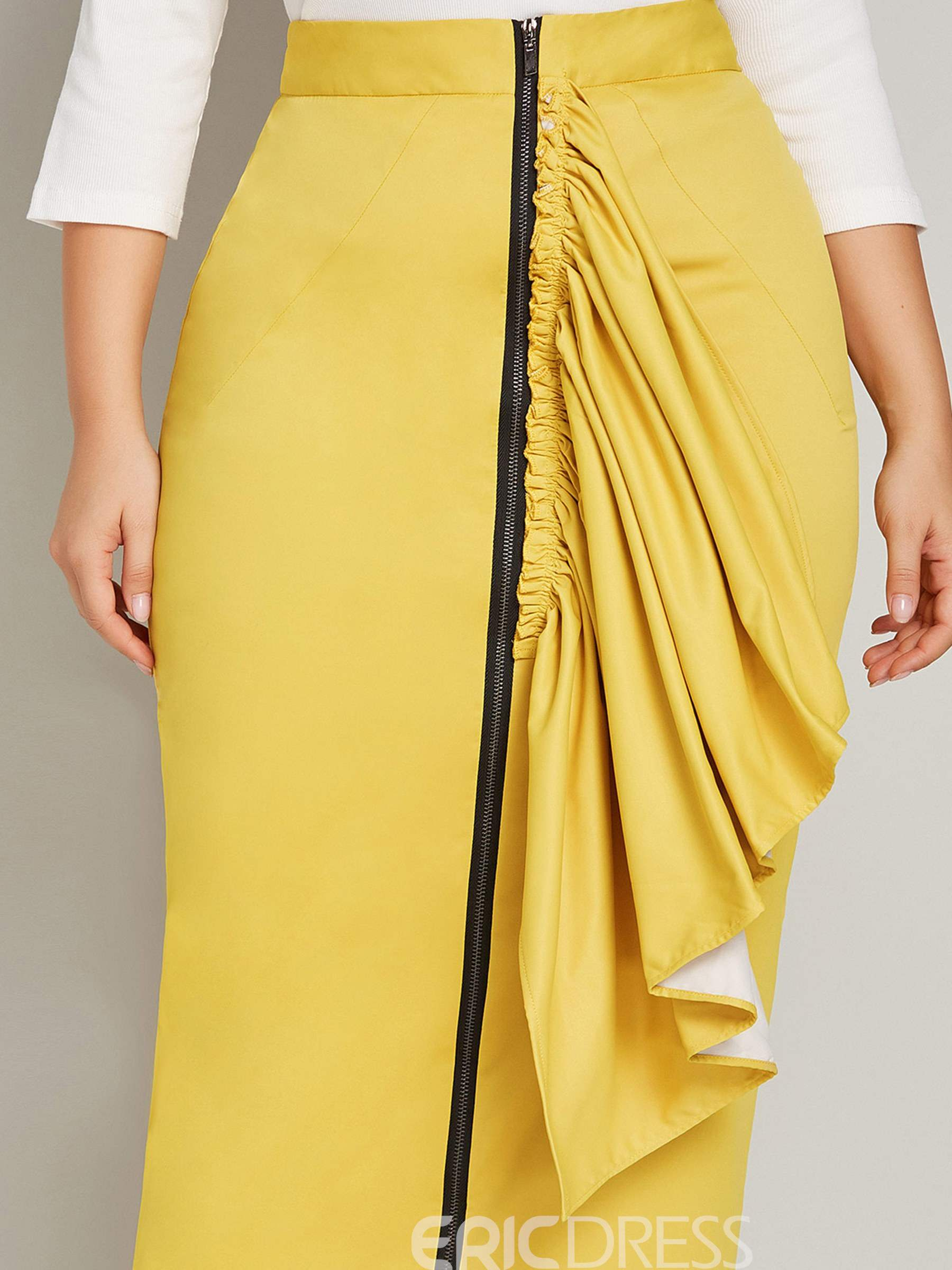 Ericdress Pleated Plusee Women's Pencil Skirt