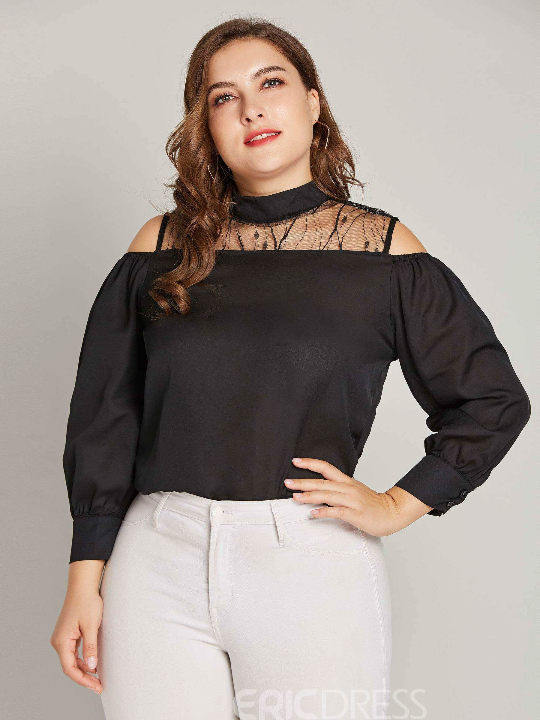 Ericdress Plus Size Patchwork Mesh Single Blouse
