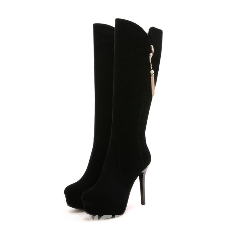 Ericdress Fringe Side Zipper Stiletto Heel Knee High Boots