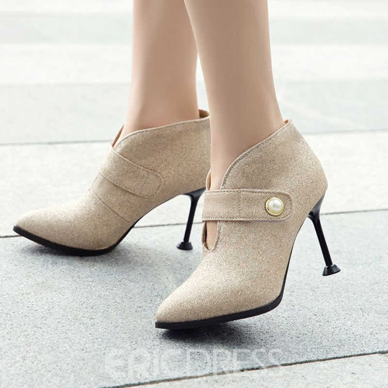Ericdress Velcro Pointed Stiletto Heel Women's Ankle Boots
