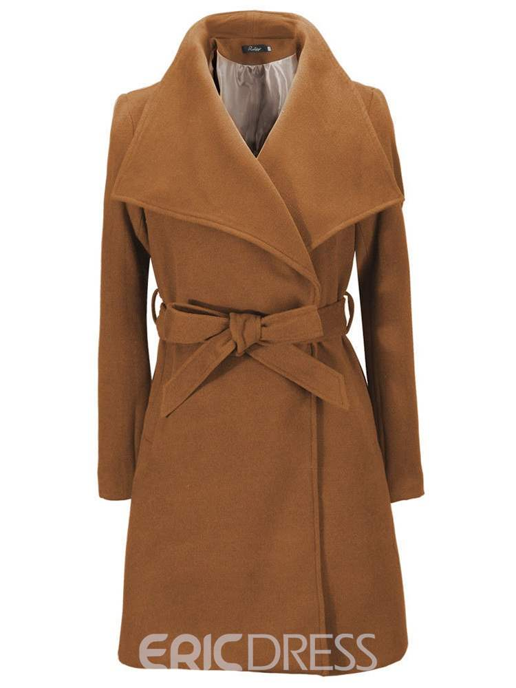 Ericdress Lapel Lace-Up Belt Long Sleeves Coat