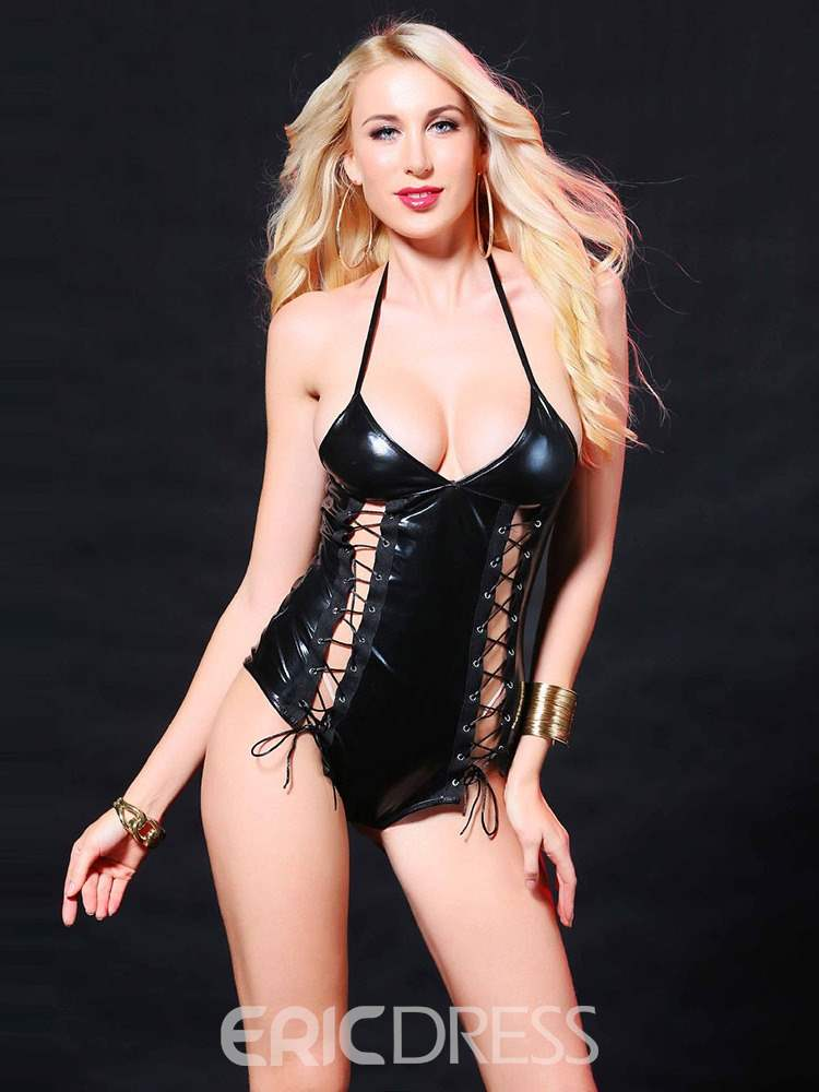 Ericdress Halter Hollow Lace-Up Patent Leather Bodysuit