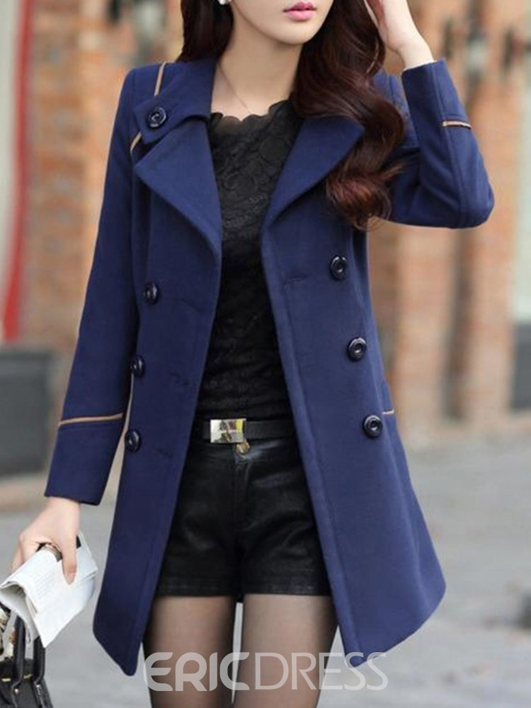 Ericdress Double-Breasted Notched Lapel Belt Coat