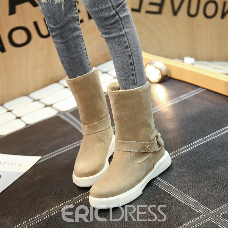 Ericdress Plain Round Toe Slip-On Snow Boots