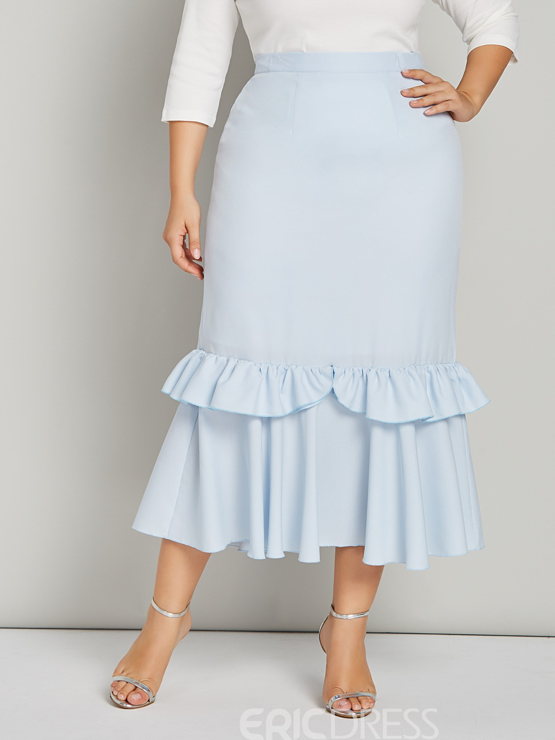 Ericdress Plain Mermaid Ankle-Length Ruffles Women's Skirt