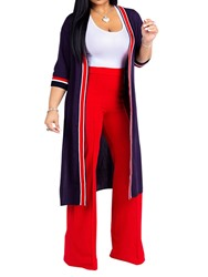 Ericdress Color Block Simple Vest and Trench Coat and Pants Womens Three Piece Set