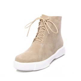 Ericdress Lace-Up Front Round Toe Women's Boots