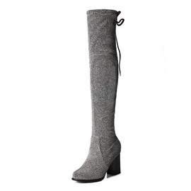 Ericdress Plain Round Toe Chunky Heel Over The Knee Boots