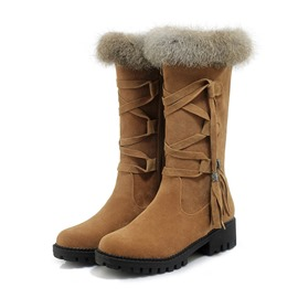 Ericdress Side Zipper Block Heel Calf High Snow Boots