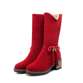 Ericdress Bowknot Round Toe Chunky Heel Women's Snow Boots