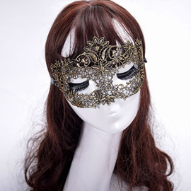 Ericdress Halloween Hollow Out Golden Lace Mask